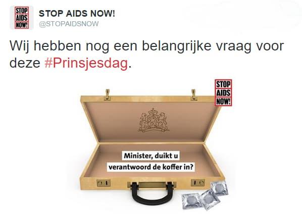 Inhaker STOP AIDS NOW! als inspiratie om blogonderwerpen te bedenken.